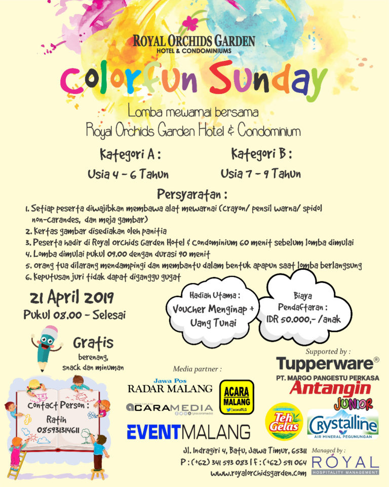 """Colorfun Sunday"", Lomba Mewarnai bersama Royal Orchids Garden Hotel and Condominiums"