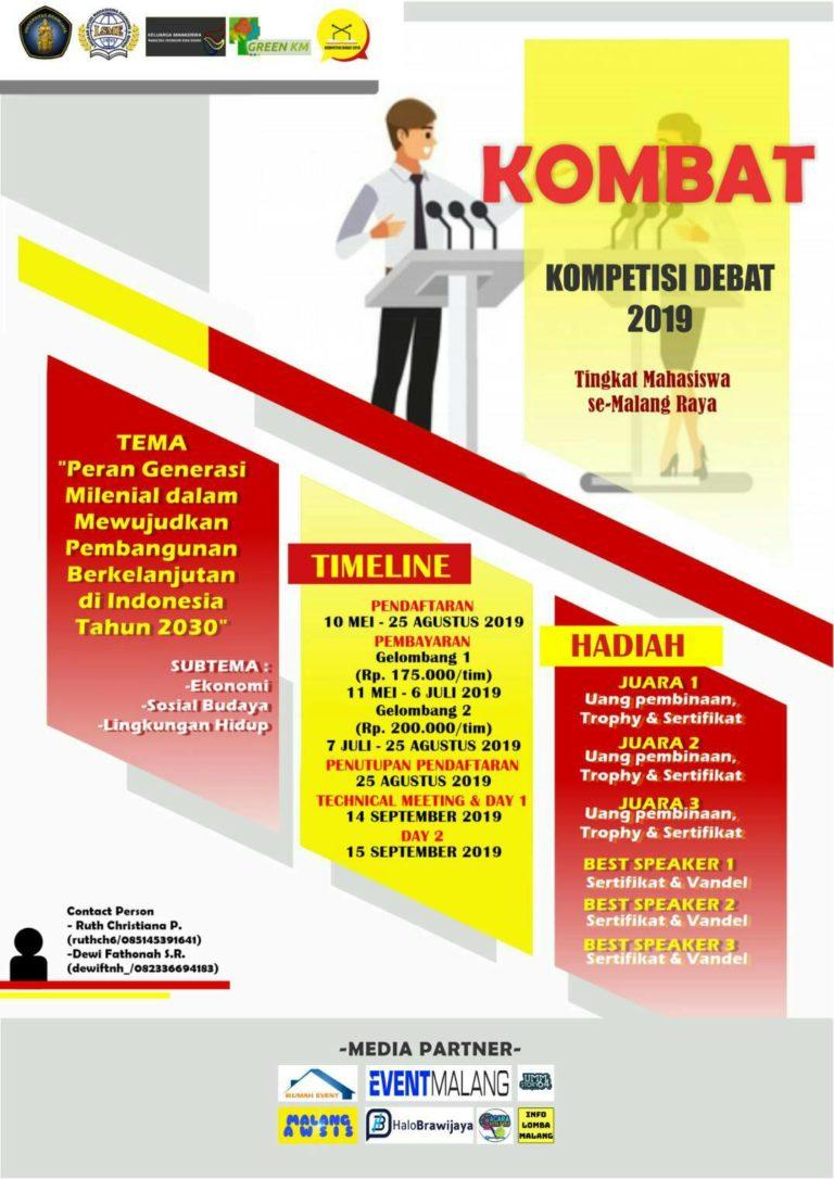 KOMBAT 2019, Kompetisi Debat Mahasiswa Se – Malang Raya