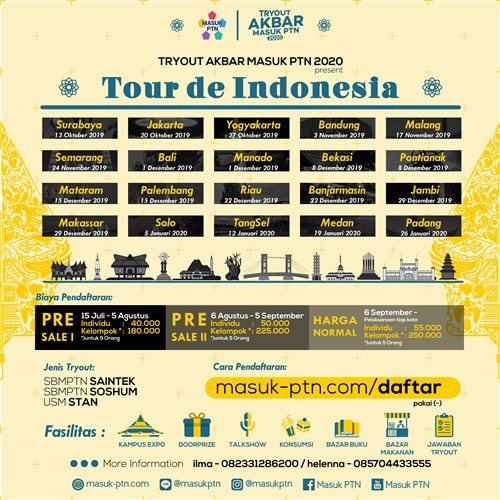"Tryout Akbar Masuk PTN 2020""Tour de Indonesia"""
