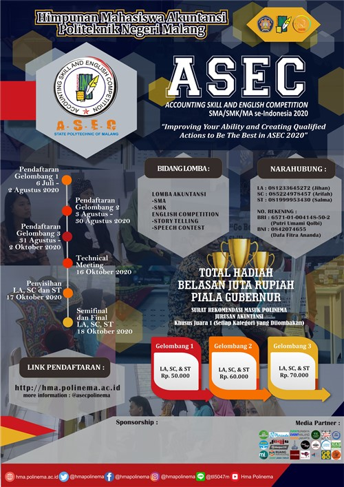 Accounting Skill and English Competition 2020 [ASEC 2020]⁣