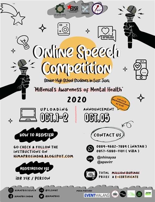 "Online Speech Competition ""Millenial's Awareness of Mental Health"" 2020"