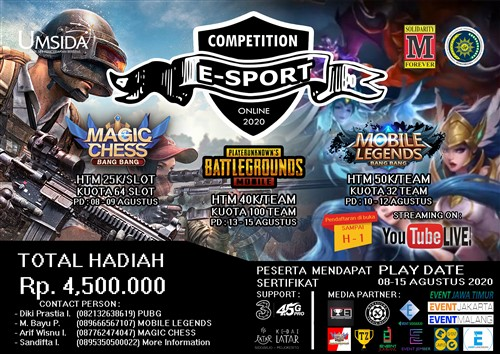 Mechanical Engineering UMSIDA CUP 2020 : E- Sport Online Competition